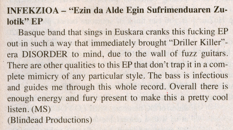 Infekzioa review in Maximum Rocknroll #377